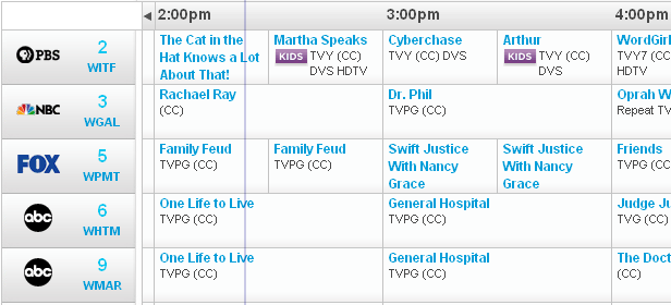 tv listings. the yahoo tv listings site at 2:23 pm. it also removes advertisements on site. tv